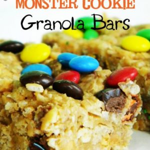 No Bake Monster Cookie Granola Bars {Super Easy Microwave Recipe}