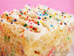Cake Batter Rice Krispie Treats – The Ultimate Thick and Chewy Cake Batter Treat
