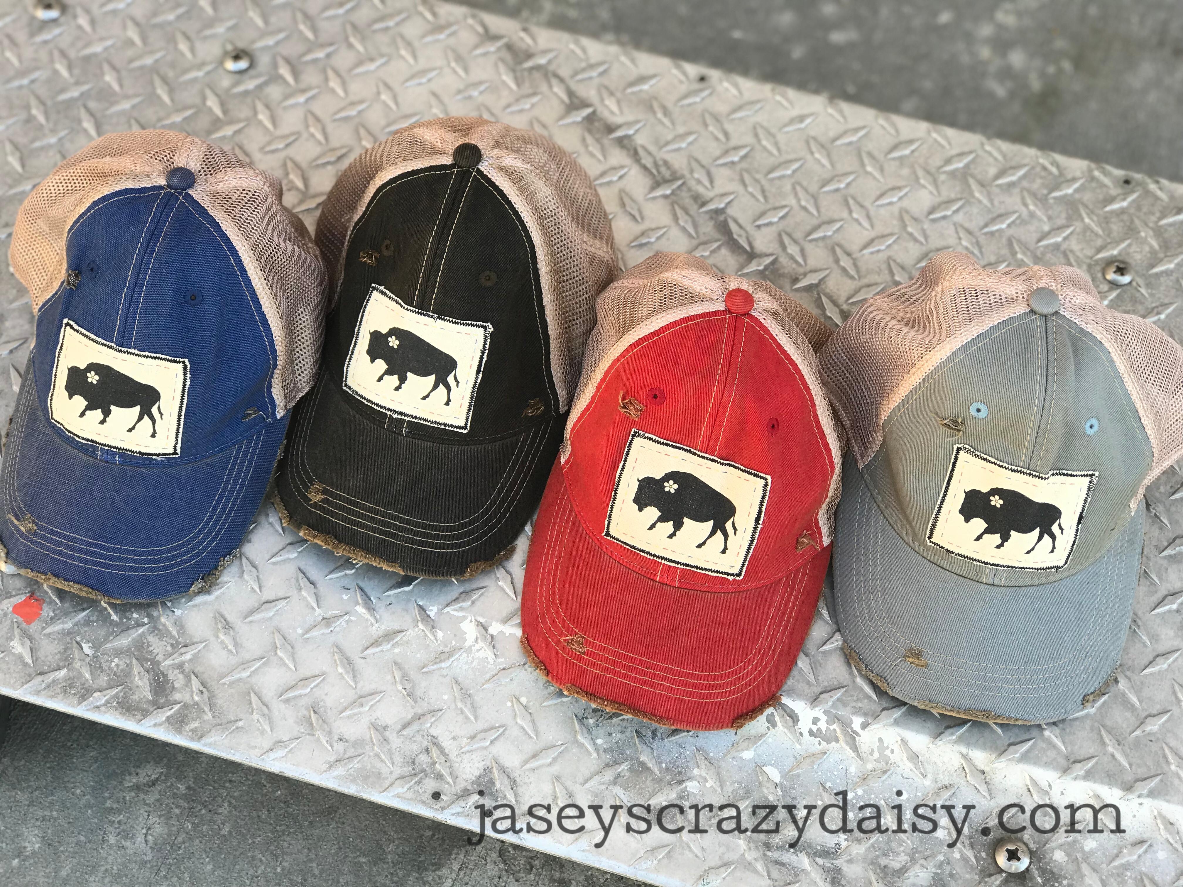 distressed daisy buffalo hats